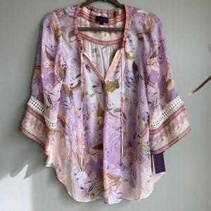 Women's Moonbow tropics silk blouse- new with tags